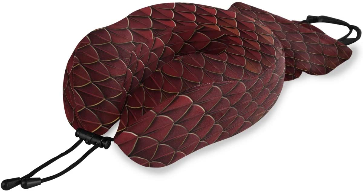 ALAZA Red and Gold Dragon Reptile Fish Snake Skin Memory Foam Travel Pillow, U Shaped Pillow for Airplane Travel, Car, Home and Office