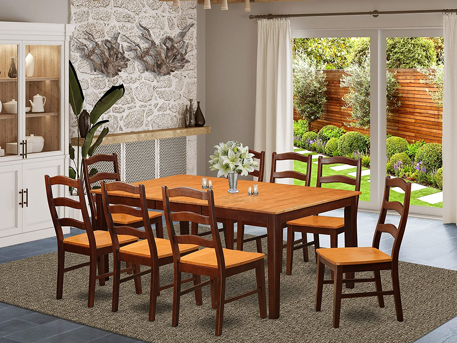 East West Furniture 9-Piece Dining Room Set Included a Self-Storing Butterfly Leaf Rectangular Table and 8 Wooden Kitchen Chairs - Solid Wood Dining Chairs Seat Ladder Back - Brown Finish