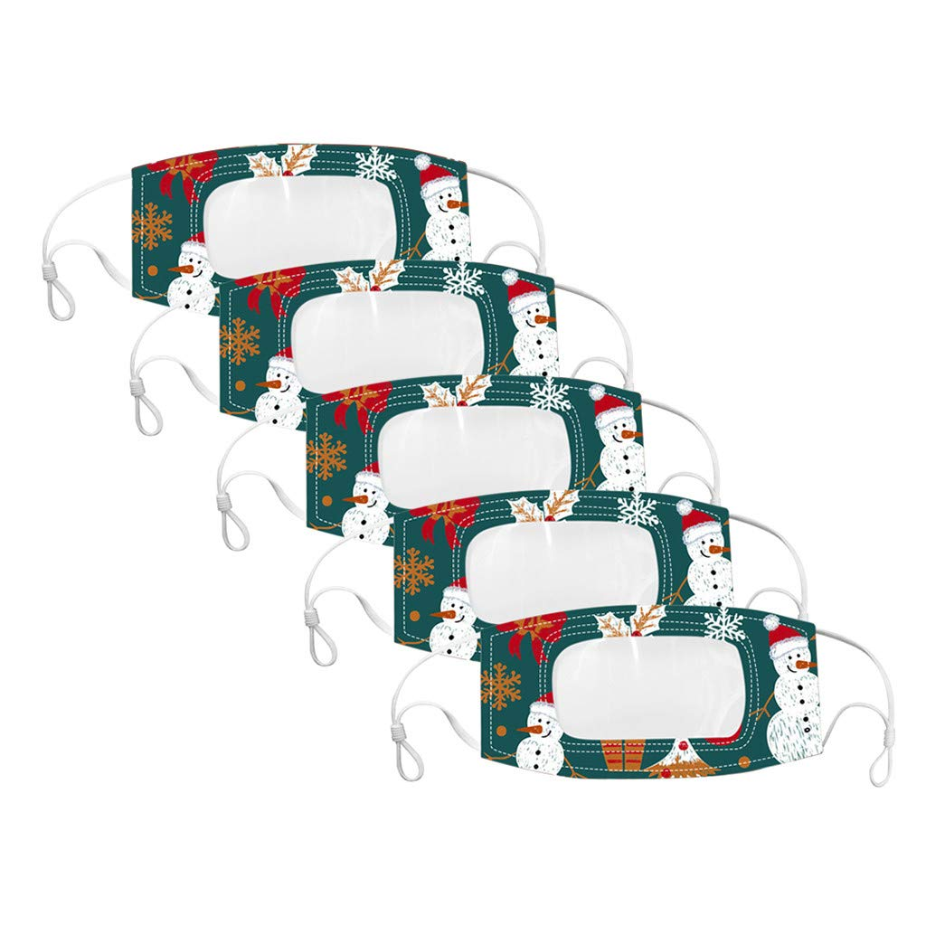 Hailia 5Pcs Face Bandanas Reusable Washable with Clear Mouth Window Visible Expression Lip Reading, Indoor and Outdoor, for Adults, Also for Deaf and Hard Of Hearing (B)
