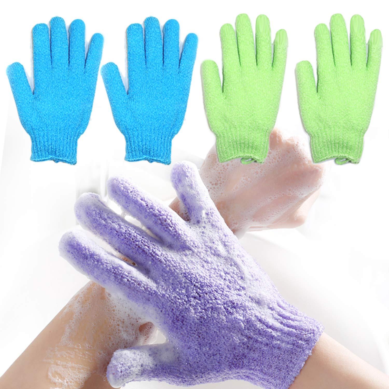 2 Pair Exfoliating Body Gloves Bath Scrub Wash Mitts Skin Massage Sponge Towel Deep Cleansing Dead Skin Brush Scrub Luxury Spa Loofah Hallowmas Clean Gift (blue&green)