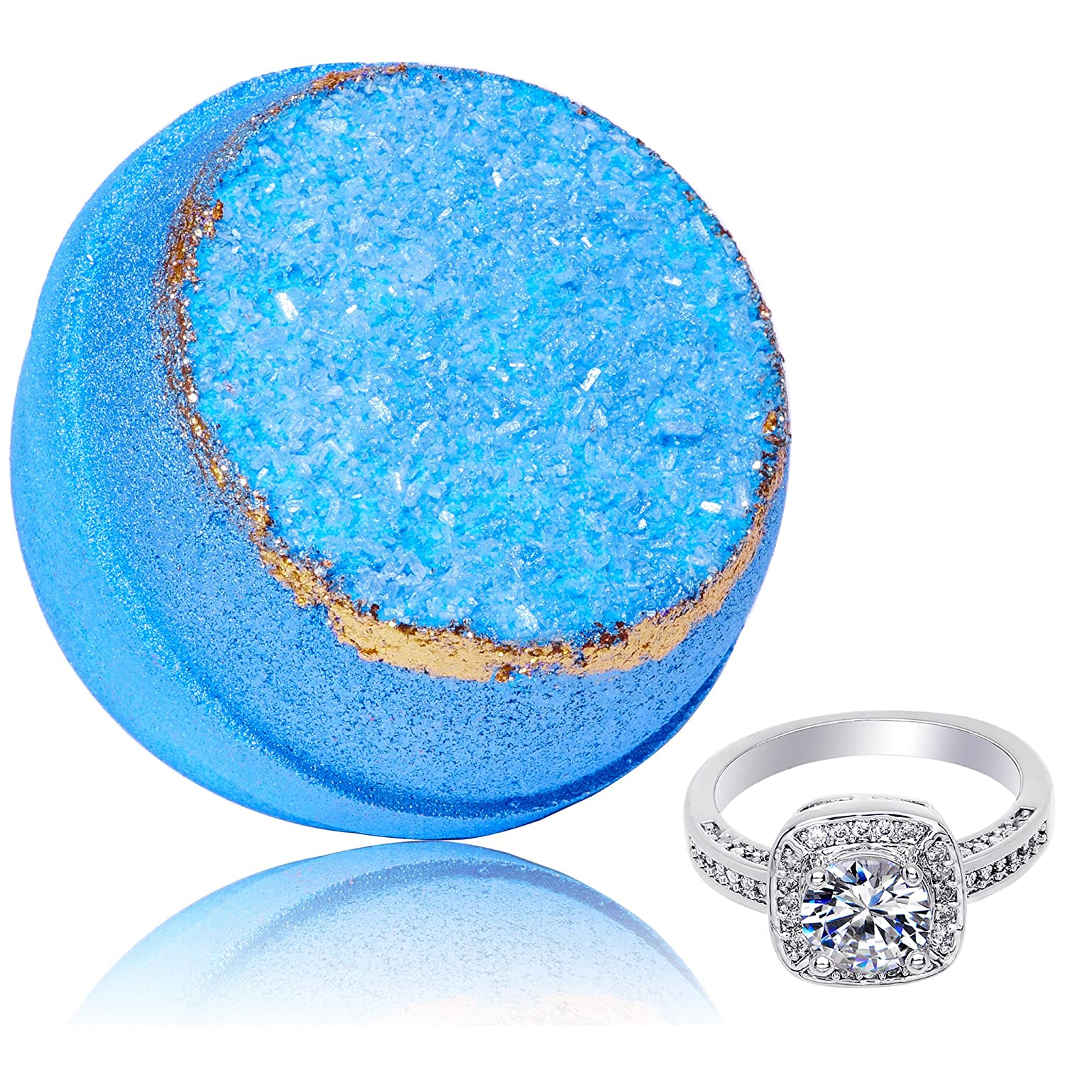 Bath Bomb with Size 6 Ring Inside Blue Geode Extra Large 10 oz. Made in USA