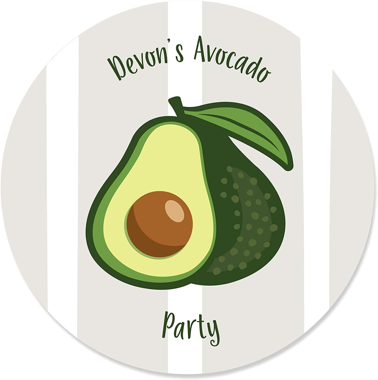 Big Dot of Happiness Personalized Hello Avocado - Custom Fiesta Party Favor Circle Sticker Labels - Custom Text - 24 Count