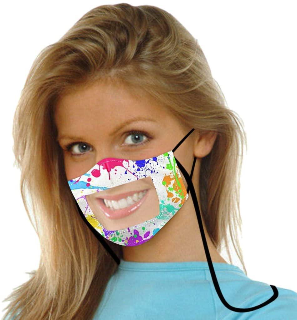 1/5/10PC Smile Face_Mask Visible Expression Lip Reading Washable Face Bandana