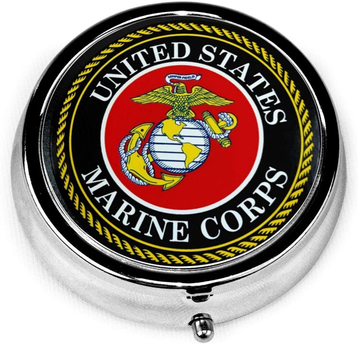 U.S. Marine Corps Round Pill Box Compact 3 Compartment Medicine Case for Pocket, Purse, Daily Needs and Travelling Unique Gift