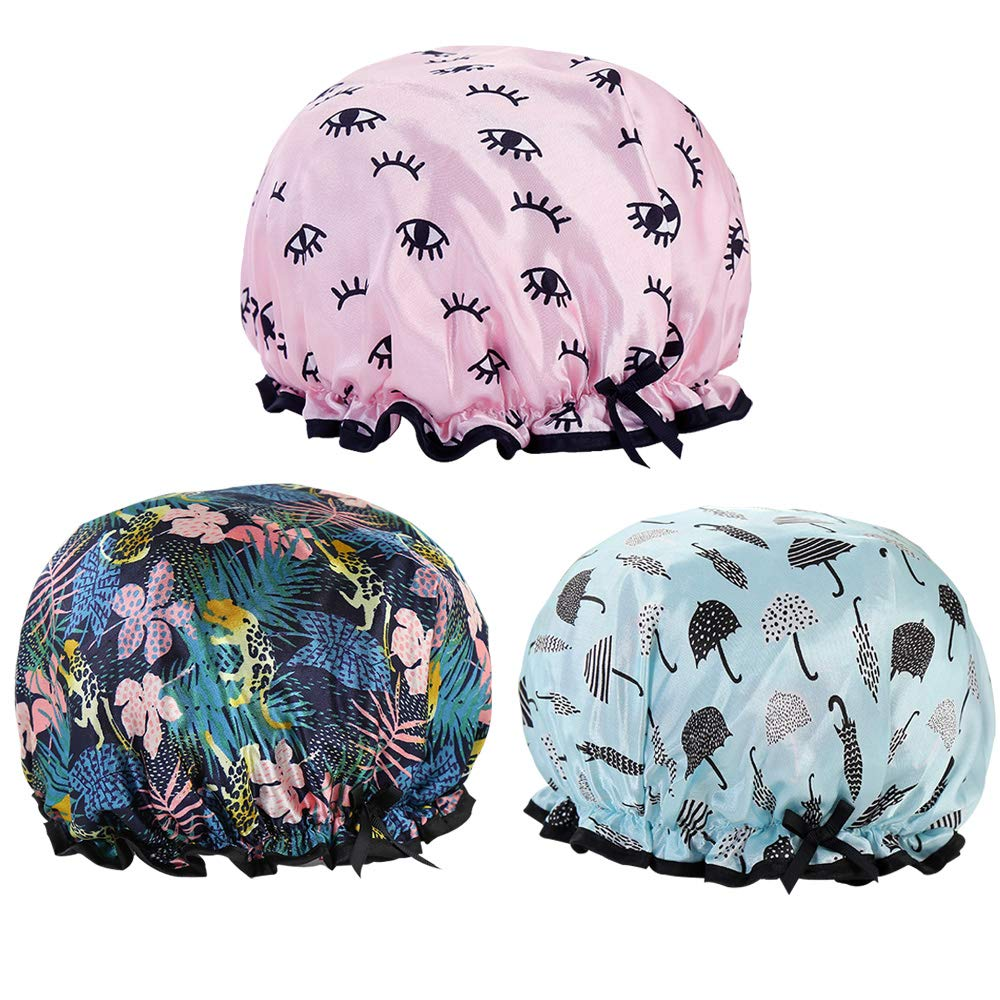 Yuauy 3 Pack Shower Caps Waterproof Double Layer Print Shower Hat for Women Luxury Bath Caps