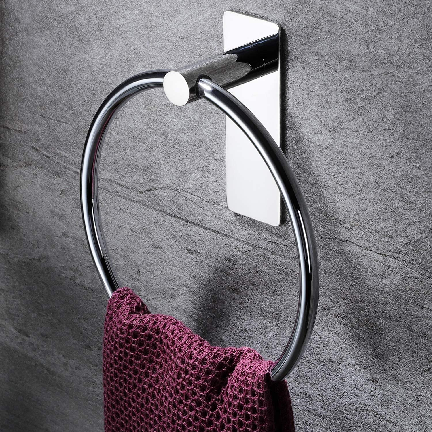 YIGII Hand Towel Holder/Towel Ring - Self Adhesive Hand Towel Rack for Bathroom Simple Round Towel Bar SUS 304 Stainless Steel, Fit Towels, Polished