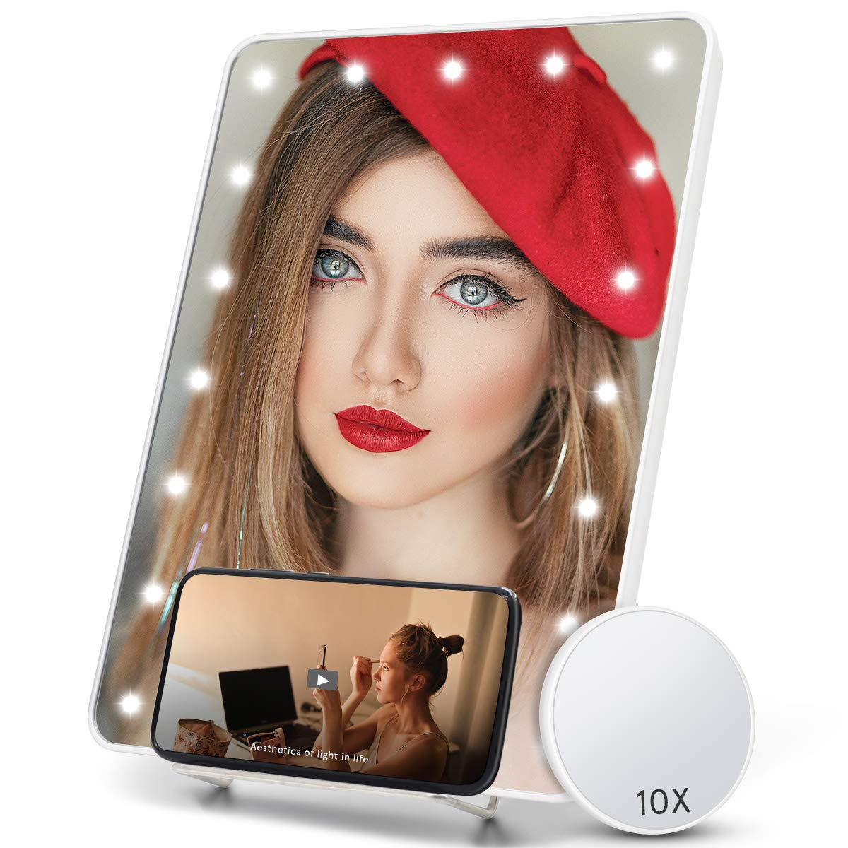 COSMIRROR Lighted Makeup Mirror with Phone Holder, Makeup Vanity Mirror with 20 LED Light and 10X Magnifying Mirror, Touch Sensor, Dual Power Supply, Hanging Wall Mount Light Up Mirror (White)