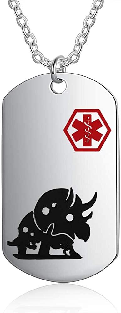 Personalized Medical Alert Necklace for Boys Girls Dinosaur Design Stainless Steel Engraved Medical ID Tag Emergency Med Alert Necklace for Boys & Girls