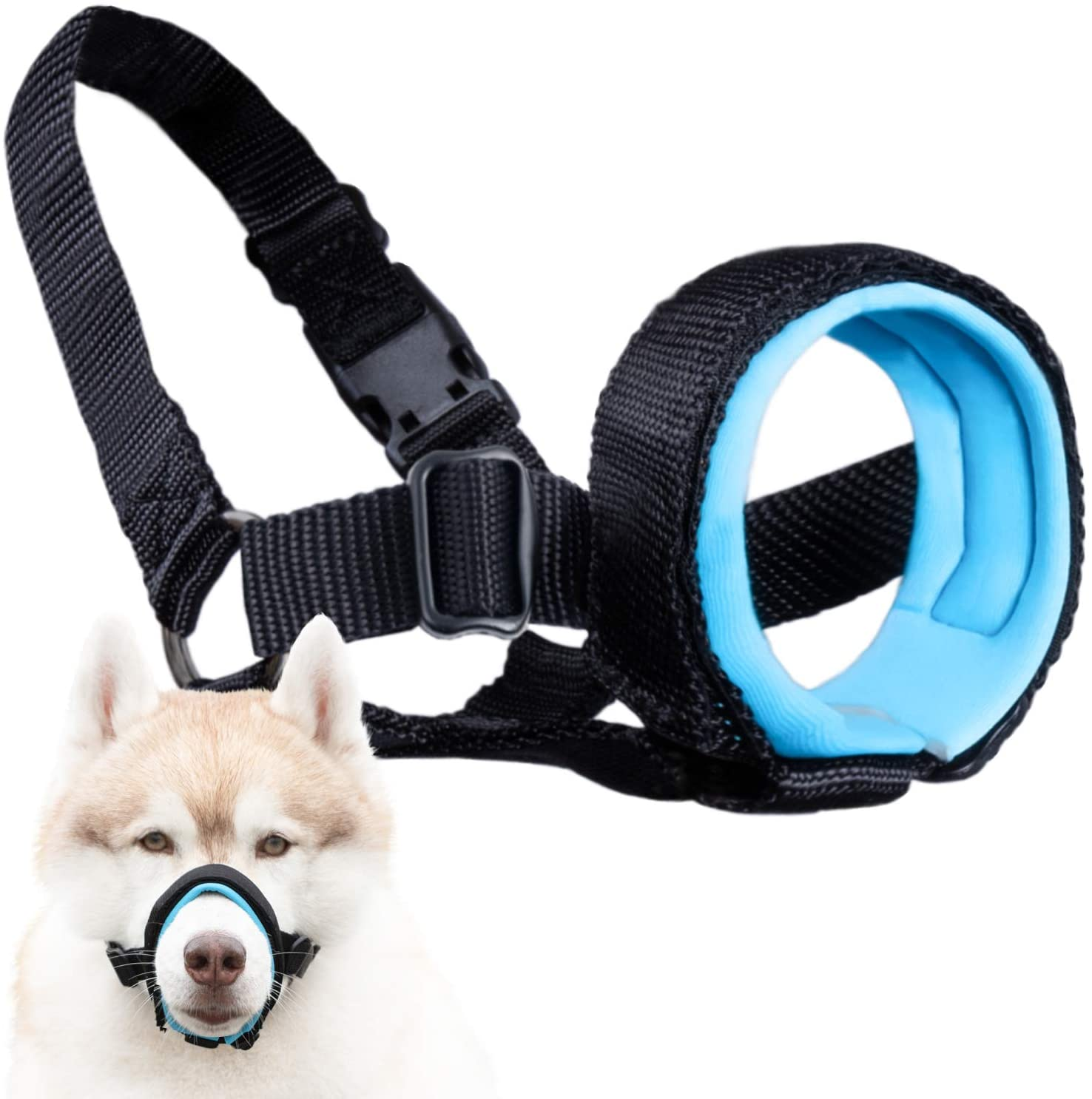 Soft and Adjustable Muzzle Guard for Dogs - Small Medium or Large Pets - Prevents Unwanted Barking Biting & Chewing - Adjustable Mouth Cover & Neck Strap - Secure Yet Comfortable Design - No Chafing
