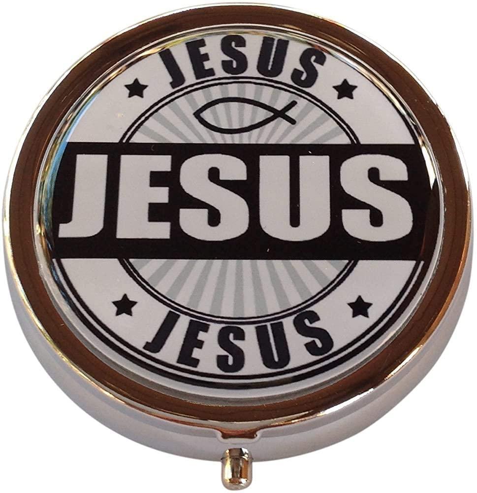 ~ Jesus Silver Three Compartment Pocket/Purse/Travel Pill Box Case