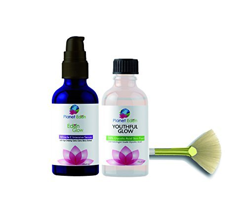 Planet Eden 70% Glycolic Acid Skin Peel Kit with Miracle C Serum & Camu Camu Berry Extract - 30x More Potent Vitamin C - Ideal for Sun Damaged Skin with Dark Spots and Uneven Skin tone