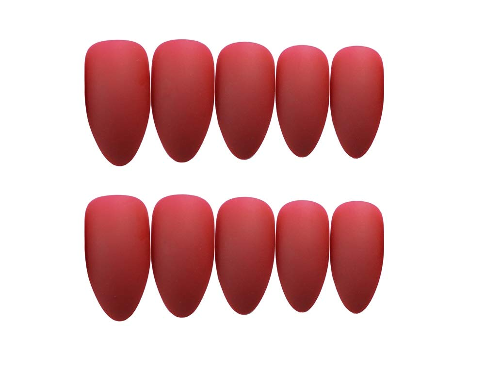 24Pcs False Nails Full Cover Coffin Acrylic Fake Nails Party Prom Clip on Nail for Women and Girls (Red)