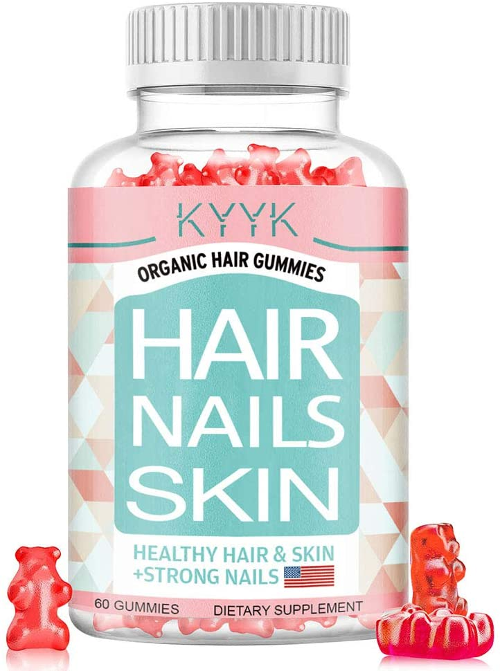 Vitamins with Biotin & Vitamin C Optimal Solutions - Hair Skin and Nails Gummies,Vegetarian,60 Count (Pack of 1), Strawberry Flavored