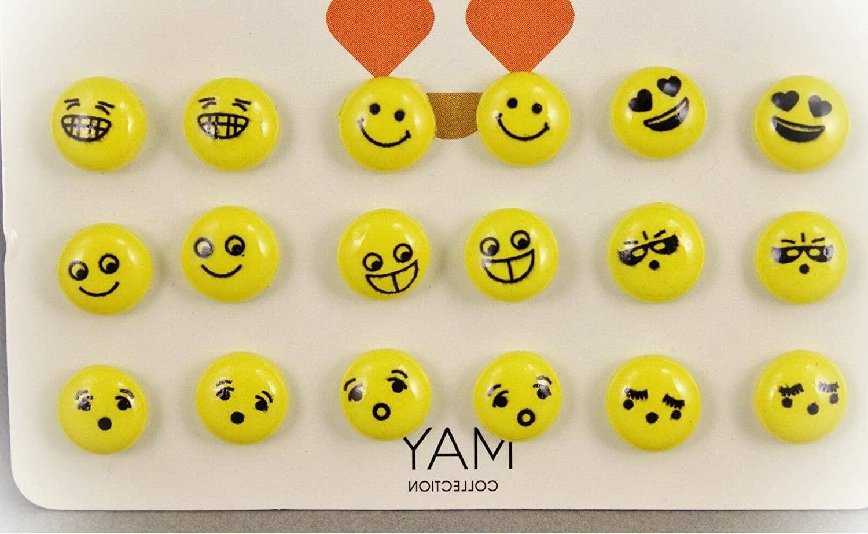 Emoji Earrings For Women Set 9 Pair Set Pack Post Stud Earrings For Women Set Metal Backs Yellow Smiley Face