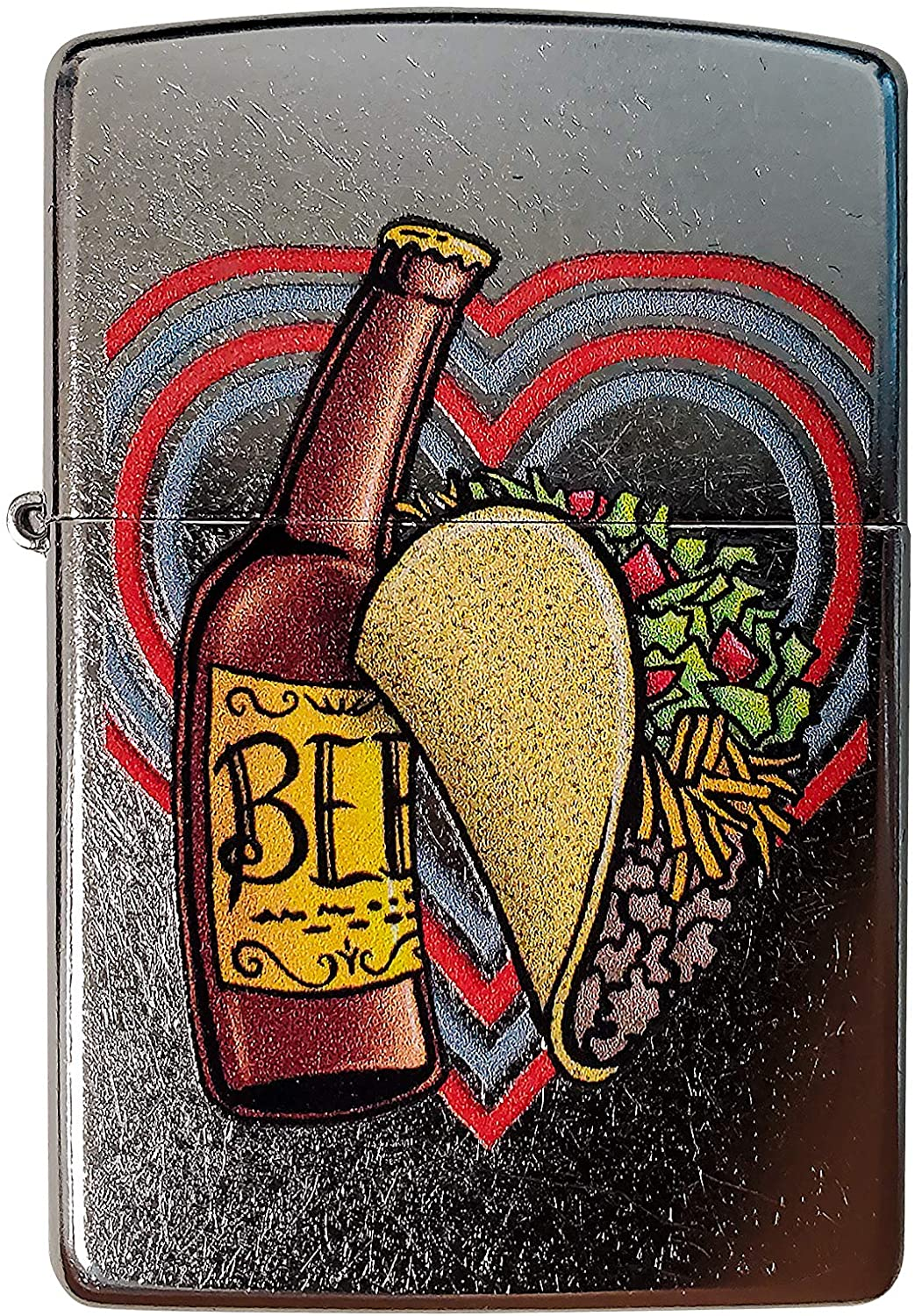 Zippo Custom Lighter - Perfect Pair Beer and Tacos - Regular Street Chrome - Gifts for Him, for Her, for Husband, for Wife, for Them, for Men, for Women
