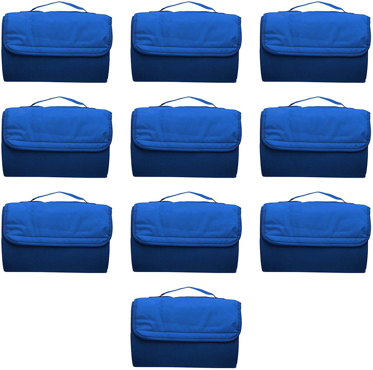 Roll Up Picnic Blankets - 10 Pack - Great Outdoor Blanket for Camping, Camp, Sports - Blue