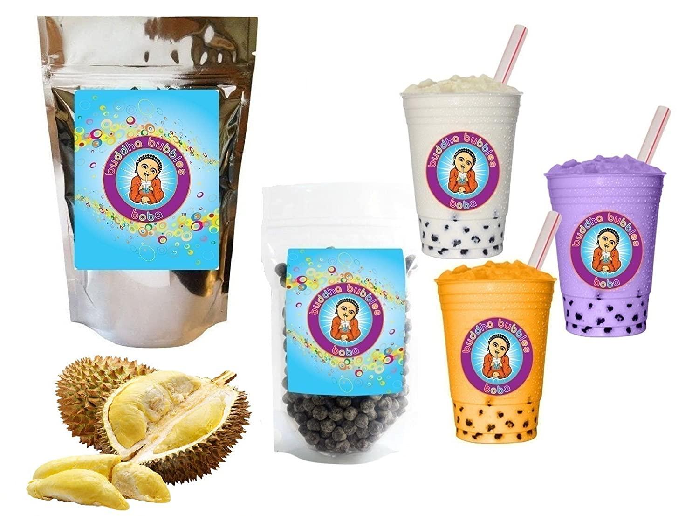 NEW TASTE ! 10+ Drinks Durian Boba Tea Kit: Tea Powder, Tapioca Pearls & Straws By Buddha Bubbles Boba