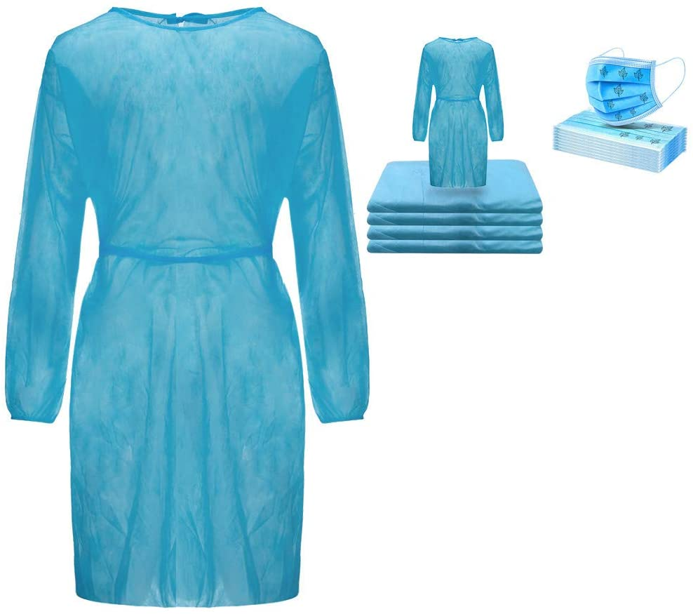 Celendi 40Pcs Disposable Isolation_Gowns and 40Pcs Disposable 3-Layer Face_Masks, Full Protection, for Health-Care Workers & Patients, Free Size - Blue