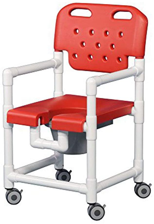 IPU ELT817 P Elite Rolling Shower Commode Chair for use Over existing Toilet, Bedside, and in The Shower (Red)