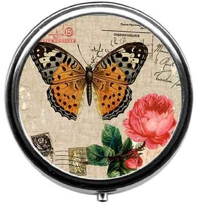 ~ Pill Box/Pill Case-Round Pill Box/Case- Three-Compartment Pill Box/Pill Case-Vintage Butterfly Stamp Pattern