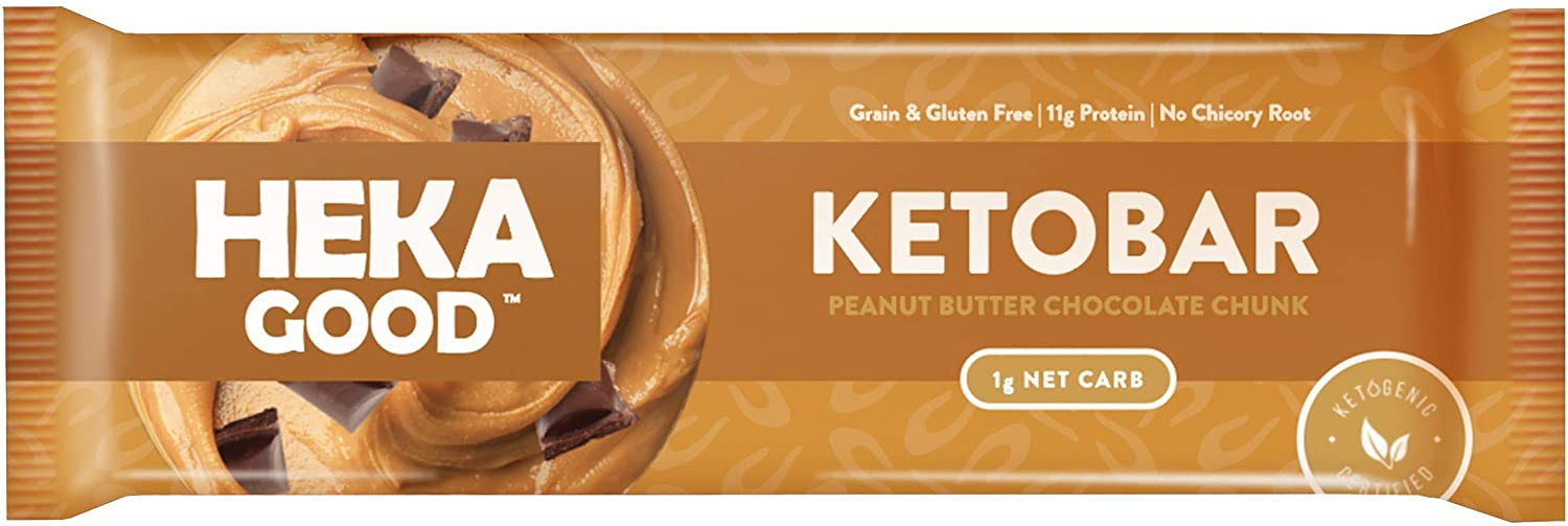 Heka Good Foods Low Carb Keto Bars, Peanut Butter Chocolate Chunk, 1g Net Carb, 11g Protein, No Sugar Added, Grain & Gluten Free, 12 Count