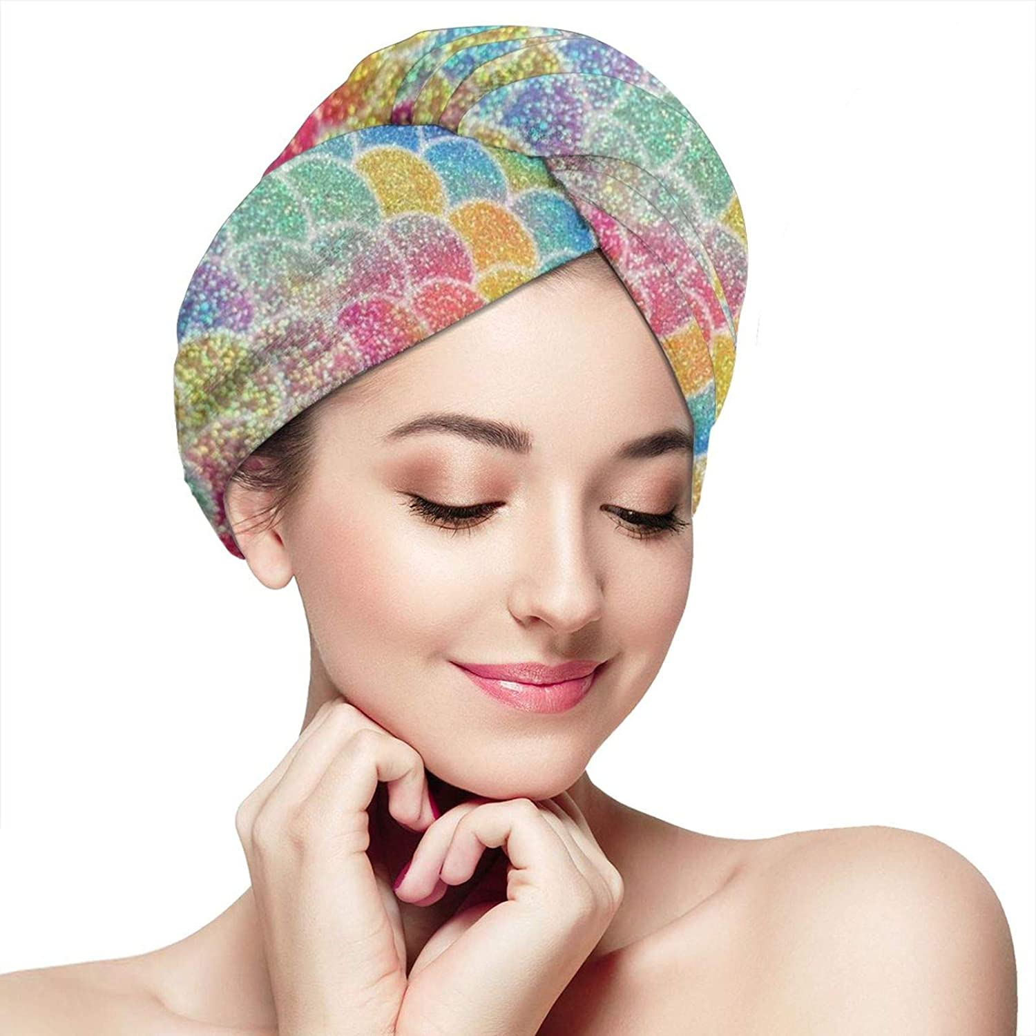 NiYoung Women Girls Original Hair Towel Twist Turban with Button Design Fast Drying Hair Caps for Drying Curly, Long & Thick Hair, Colorful Mermaid Fish Scales 11