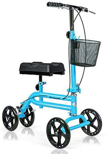Giantex All Terrain Steerable Knee Scooter, Medical Knee Walker for Foot Injuries Ankles Surgery, Height Adjustable Weight Capacity 350lbs, Orthopedic Seat Pad, Heavy Duty Crutches Alternative (Navy)