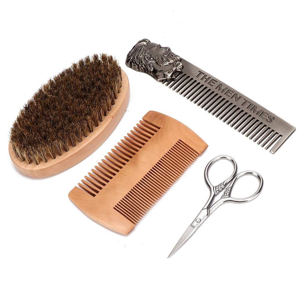 Male Mustache Scissor Beard Comb 4Pcs Home Use Beard Care Tool Set Mustache Brush for Salon Use(Suit)