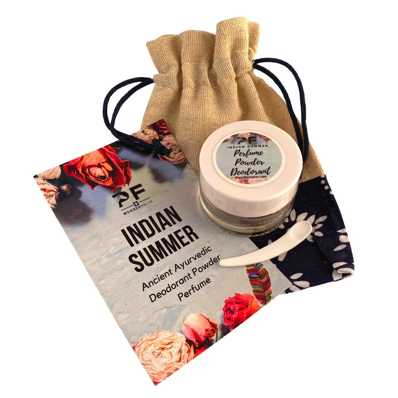 Indian Summer Ayurveda Powder Deodorant Herbal Perfume Sandalwood Rose Vetiver Frankincense