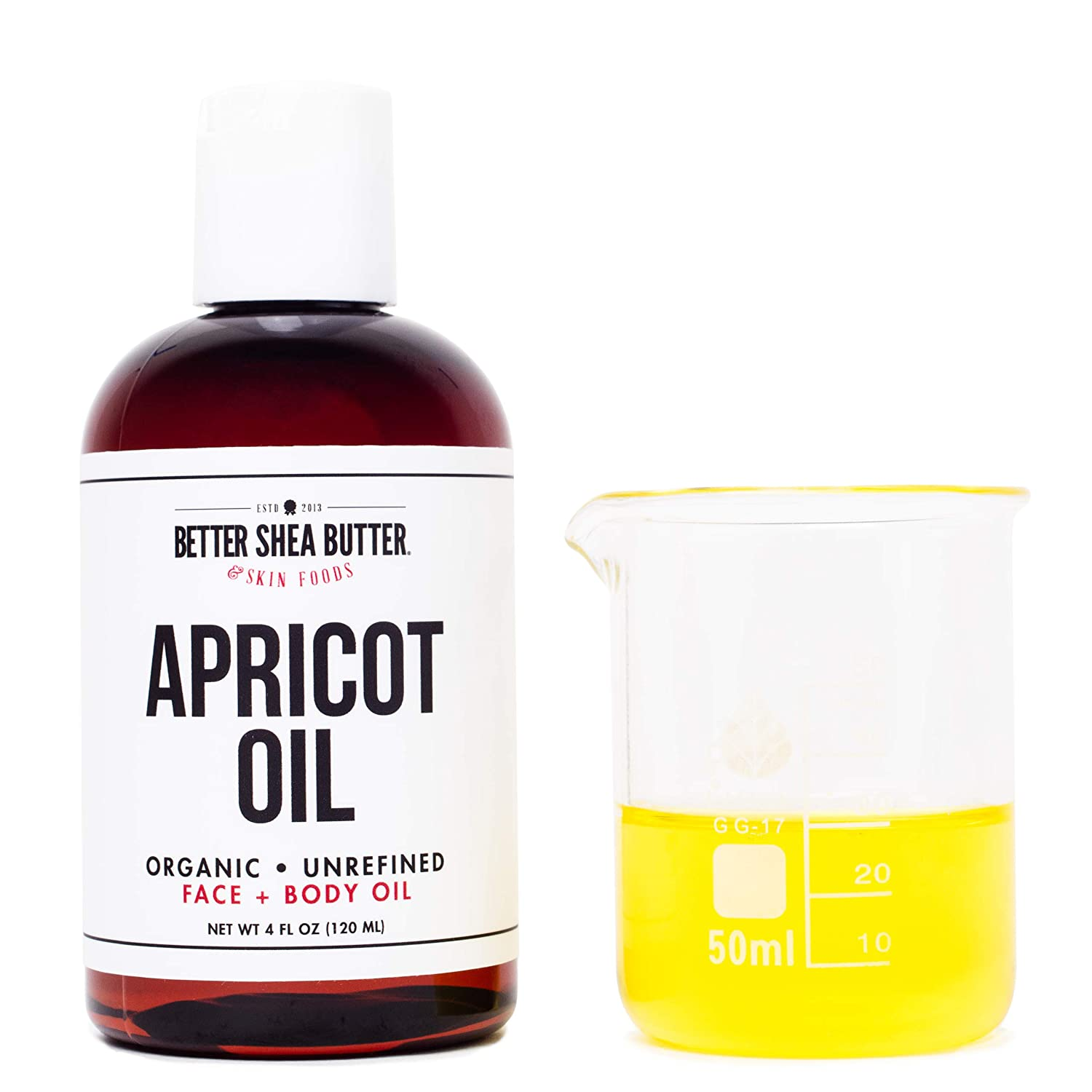 Organic Apricot Kernel Oil, Cold-Pressed, Unrefined, 100% Pure - Moisturize Face and Hair, Use as a Massage Oil or Carrier Oil for Essential Oils - 4 oz - by Better Shea Butter