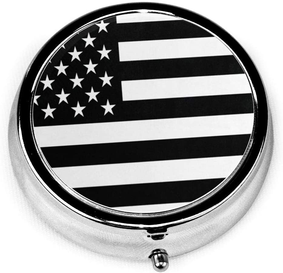 ~ Black and White American Flag Pill Box Round Metal Pill Case Three Compartment Pocket Medical Storage for Purse