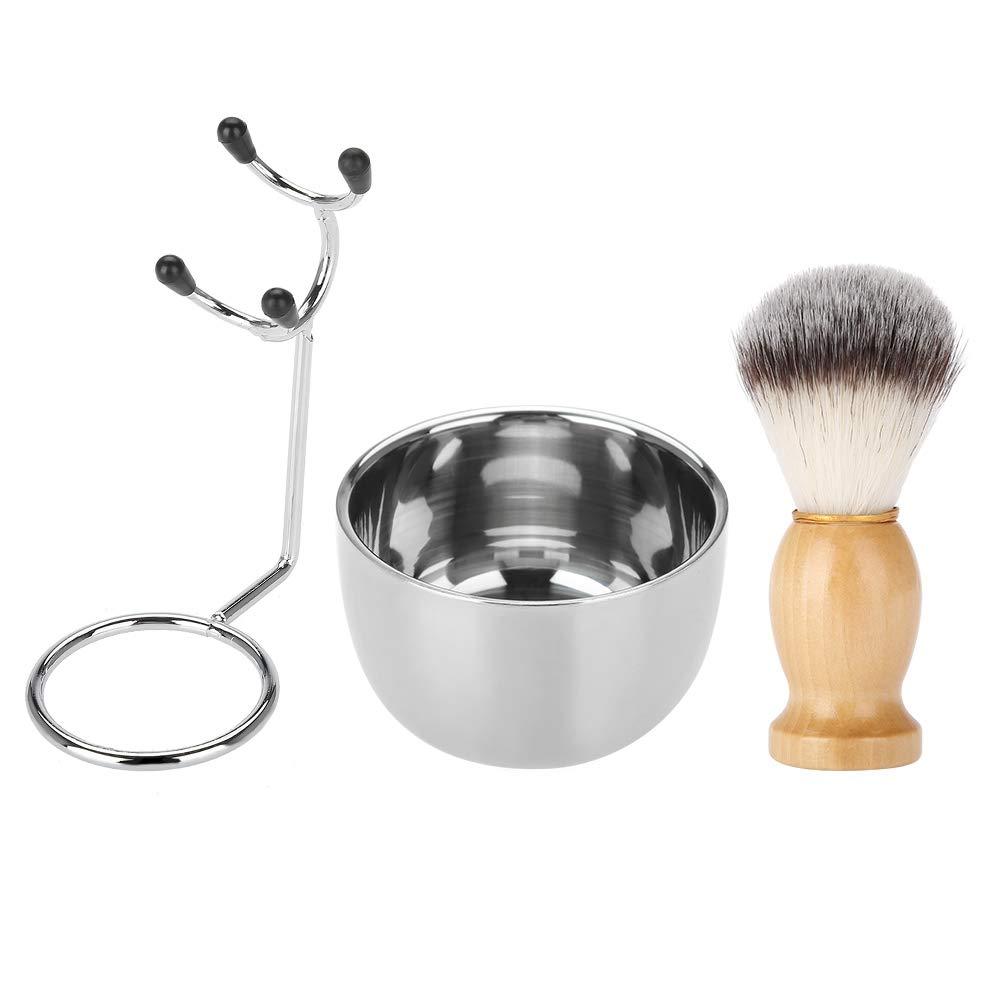 3 In 1 Shaving Brush Kit Men's Beard Shaving Set Professional Stainless Steel Bowl Stand Brush Mustache Shaving Tool