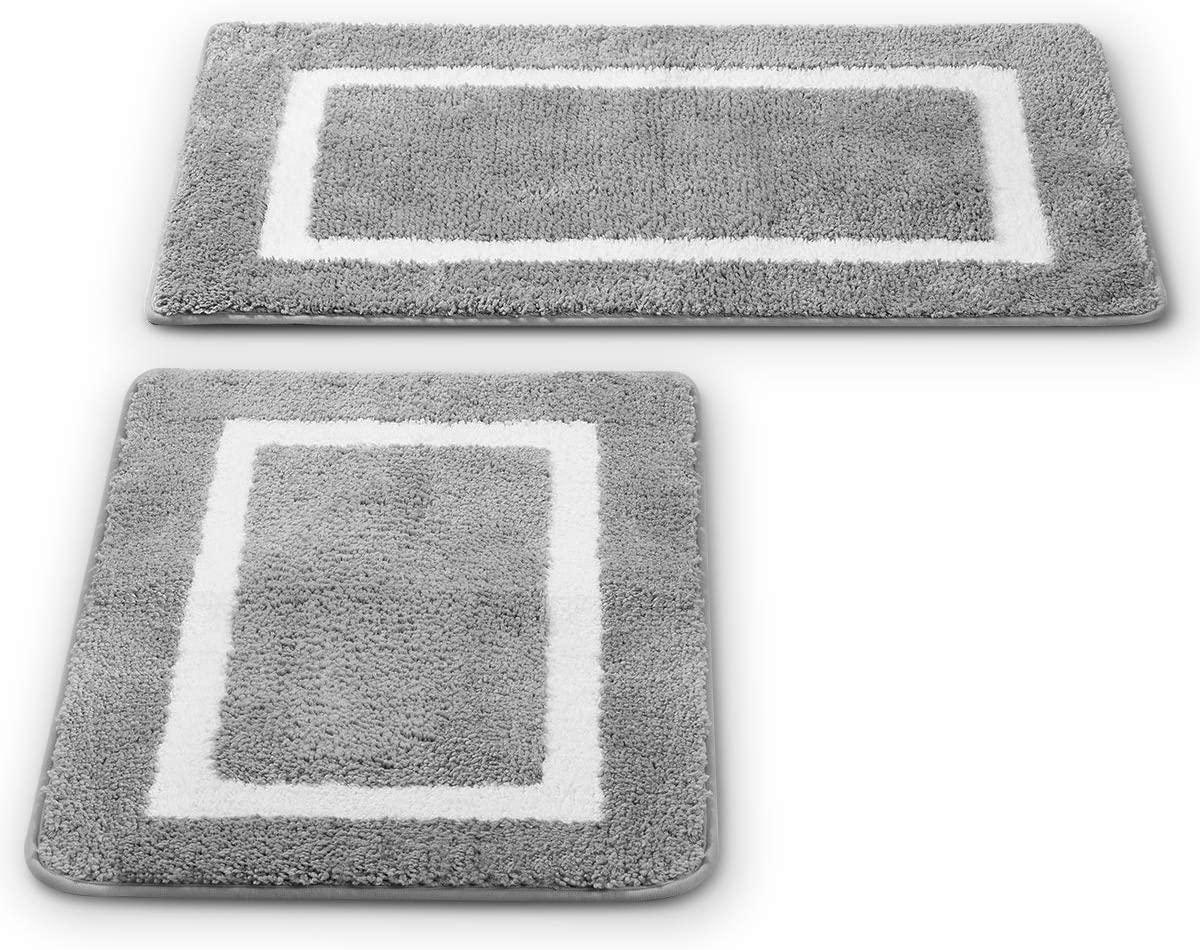 2 Pack Ultra Soft Microfiber Bath Mat, Anti Slip Bath Rug Set, Strong Absorbent, Machine Washable Shower Rugs, Perfect Plush Bathroom Mat for Tub, Shower and Bathroom (L+M, Gray/White)