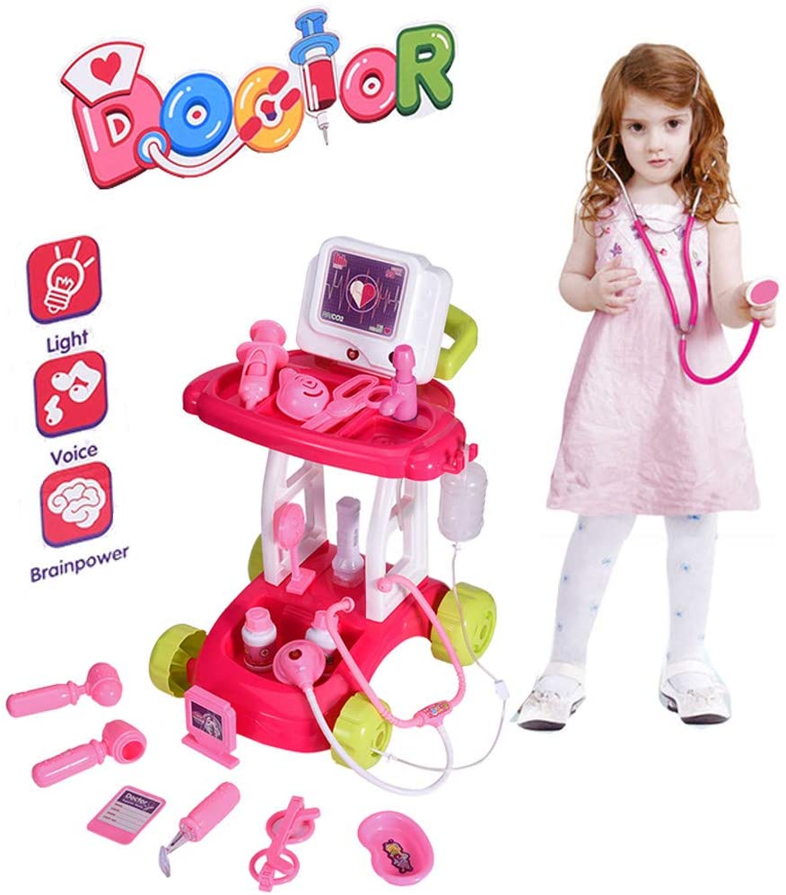 Medical Trolley Toy | Kids Doctor Toy Kit Set | Toddlers Pretend Doctors Playset with Simulation Scanner and Stethoscope Kit Accessories | Role Playing Preschool Educational Indoor Game (Pink)