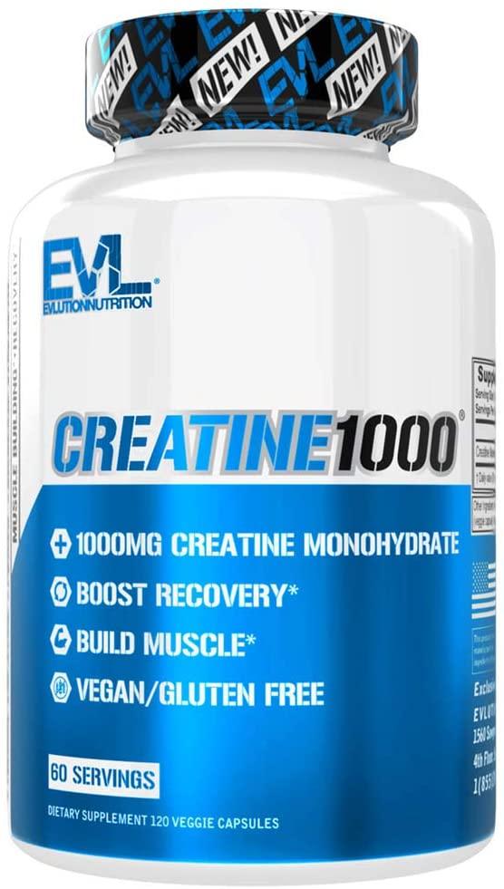 Evlution Nutrition Creatine1000, 1 Gram of Pure Creatine Monohydrate in Each Serving, Veggie Capsules (60 Servings)