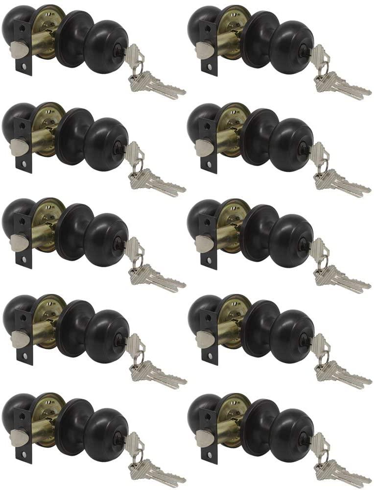 (10 Pack) Probrico Oil Rubbed Bronze Round Entry Door Knobs with Key, Exterior/Interior Door Handles Bedroom Bathroom/Front/Offic Doors, Door Lock with Locks and 3 Keys,Entrance Lock Security