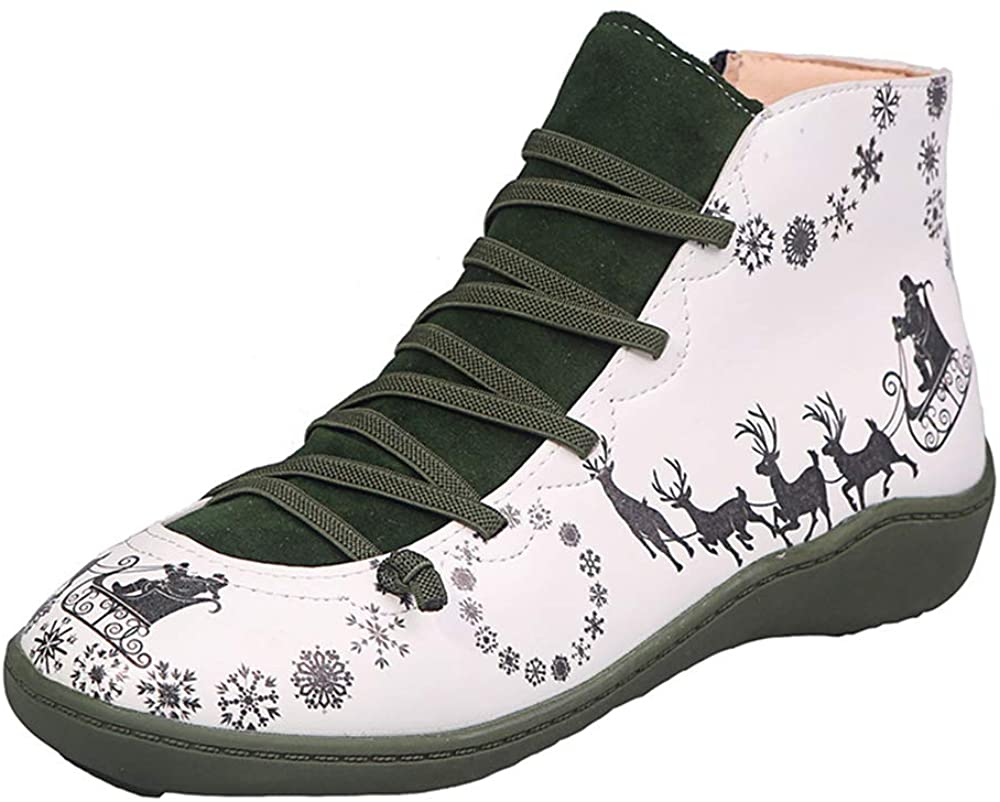 Womens Retro Ankle Flat Boot Soft Arch Support Ankle Christmas Lace Up Booties