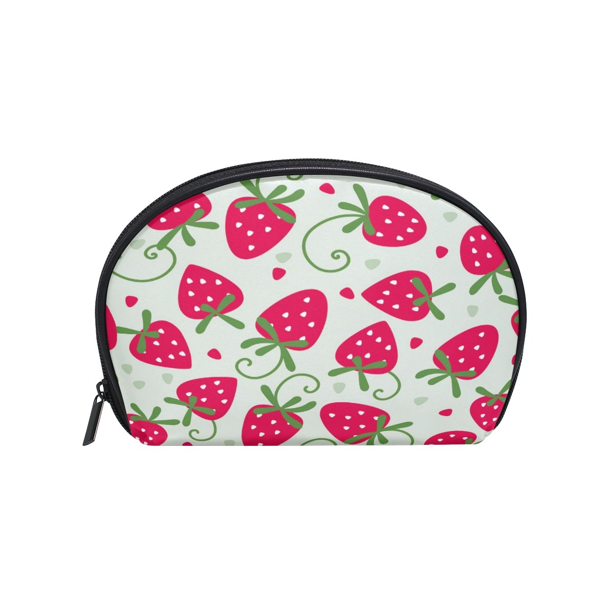 ALAZA Strawberry Half Moon Cosmetic Makeup Toiletry Bag Pouch Travel Handy Purse Organizer Bag for Women Girls