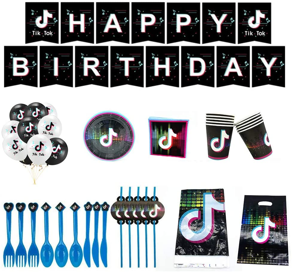 TIKTOK party tableware set, including tablecloth×1, banner×15, paper cup×10, paper towel×20, fork×10, knife×10, spoon×10, straw×10, 7-inch plate×10, gift bag×10, balloon ×10. Suitable for birthday party decoration, can meet the needs of all parties.