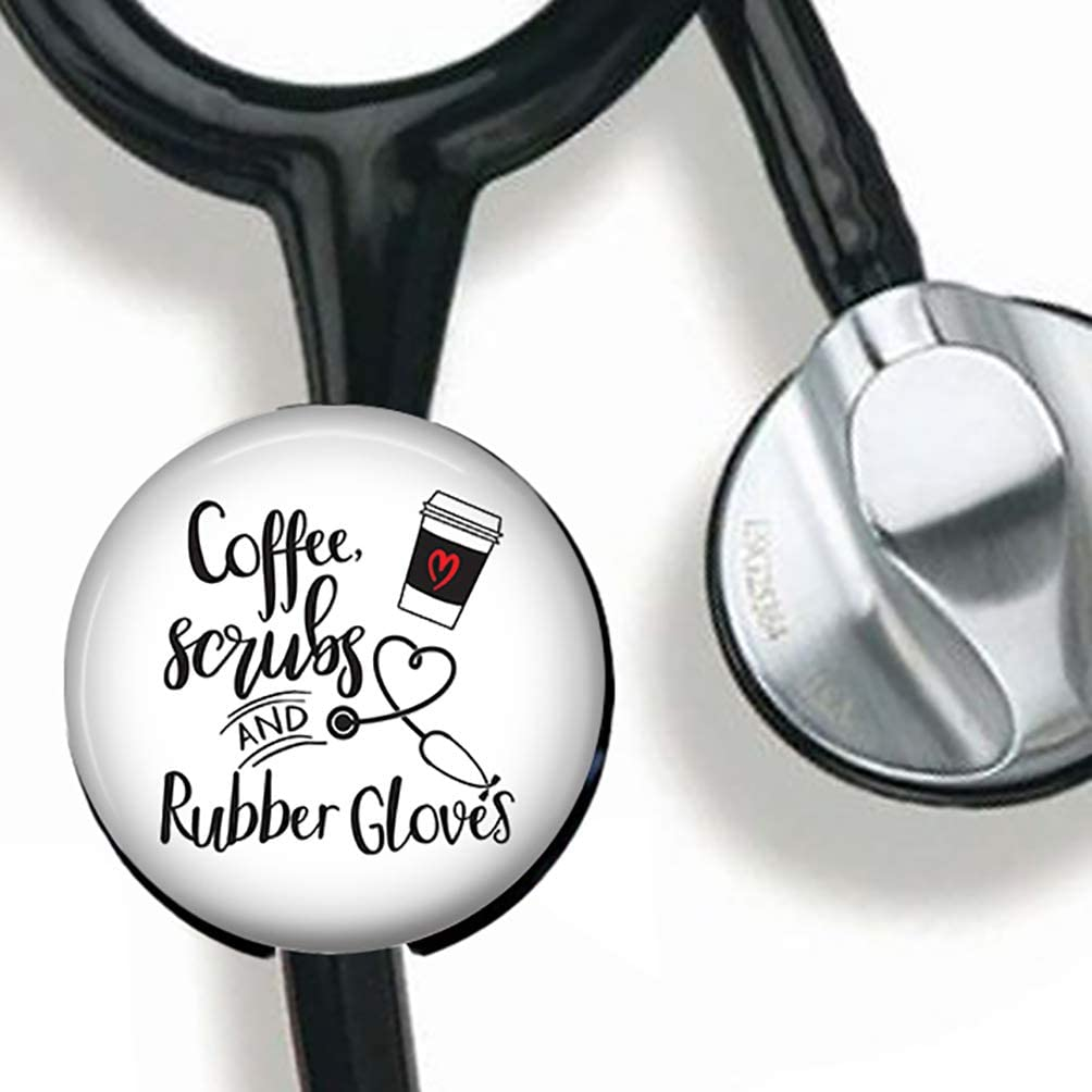 Nurse Coffee Quote Stethoscope Tag Personalized,Nurse Doctor Stethoscope ID Tag Customized, Medical Stethoscope Name Tag with Writable Surface-Black