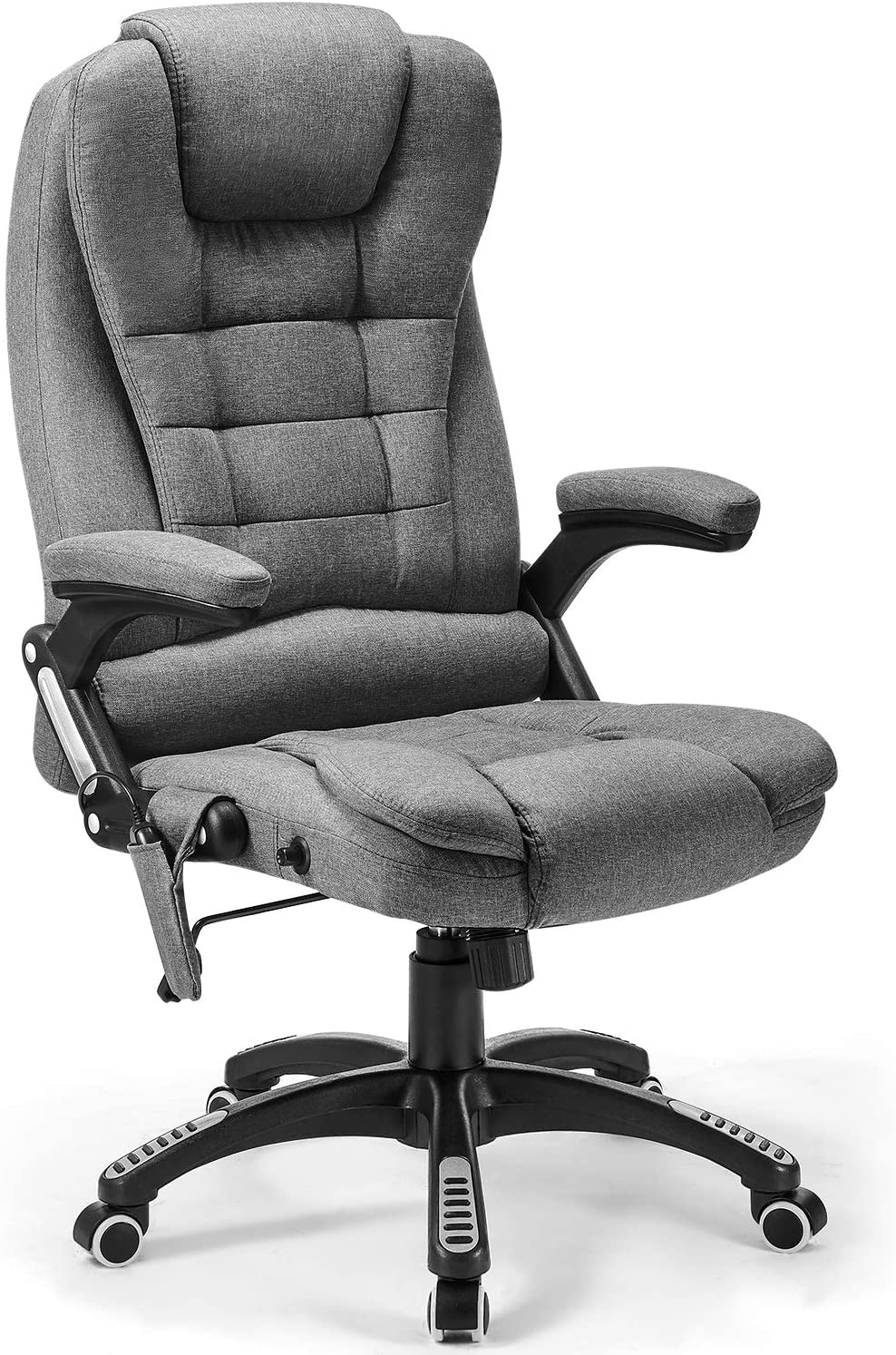 Massage Office Chair, Kealive Thick High Back Fabric Executive Computer Desk Chair, Adjustable Tilt Angle Ergonomic Reclining Chair, Rolling Swivel Chair, Grey