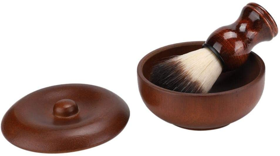 Shaving Soap Bowl,Wooden Men Classic Elegant Beard Shaving Cream Soap Bowl with Lid Soft Hair Brush Beard Cleaning Tool Kits for Father/Husband/Boyfriend/Friends/Personal Use(1#)
