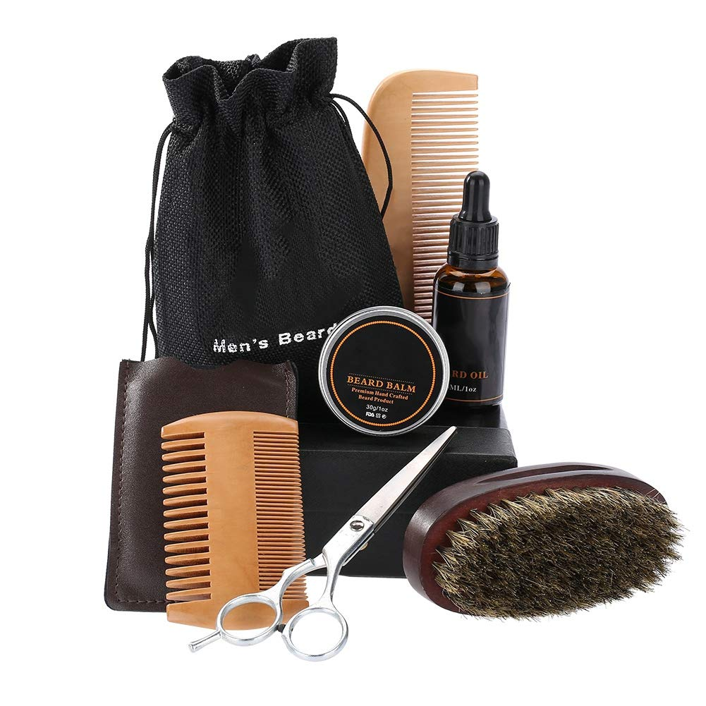 Men Beard Care Kit, Men's Gifts Beard Grooming Kit Mustache Hair Care Styling Shaping Tool Travel Size Portable for Carry(01#)