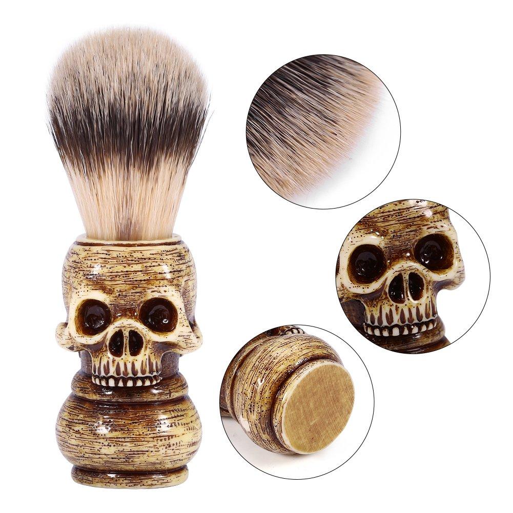 Skull Head Shaped Handle Beard Shaving Brush Designed for your Best Wet Shave, Hand Crafted with Resin Men's Grooming Hair Shaving Brush Tool