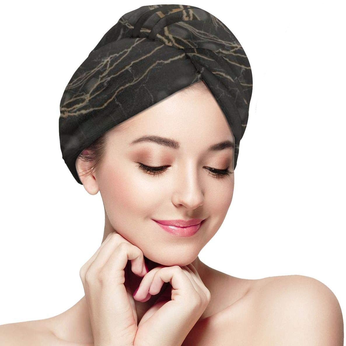 NiYoung Women & Girls Black Marble Hair Towel Wrap Ultra Absorbent Fast Dry Bathing Wrapped Cap Anti Frizz Shower Hair Turban for Drying Curly Long & Thick Hair