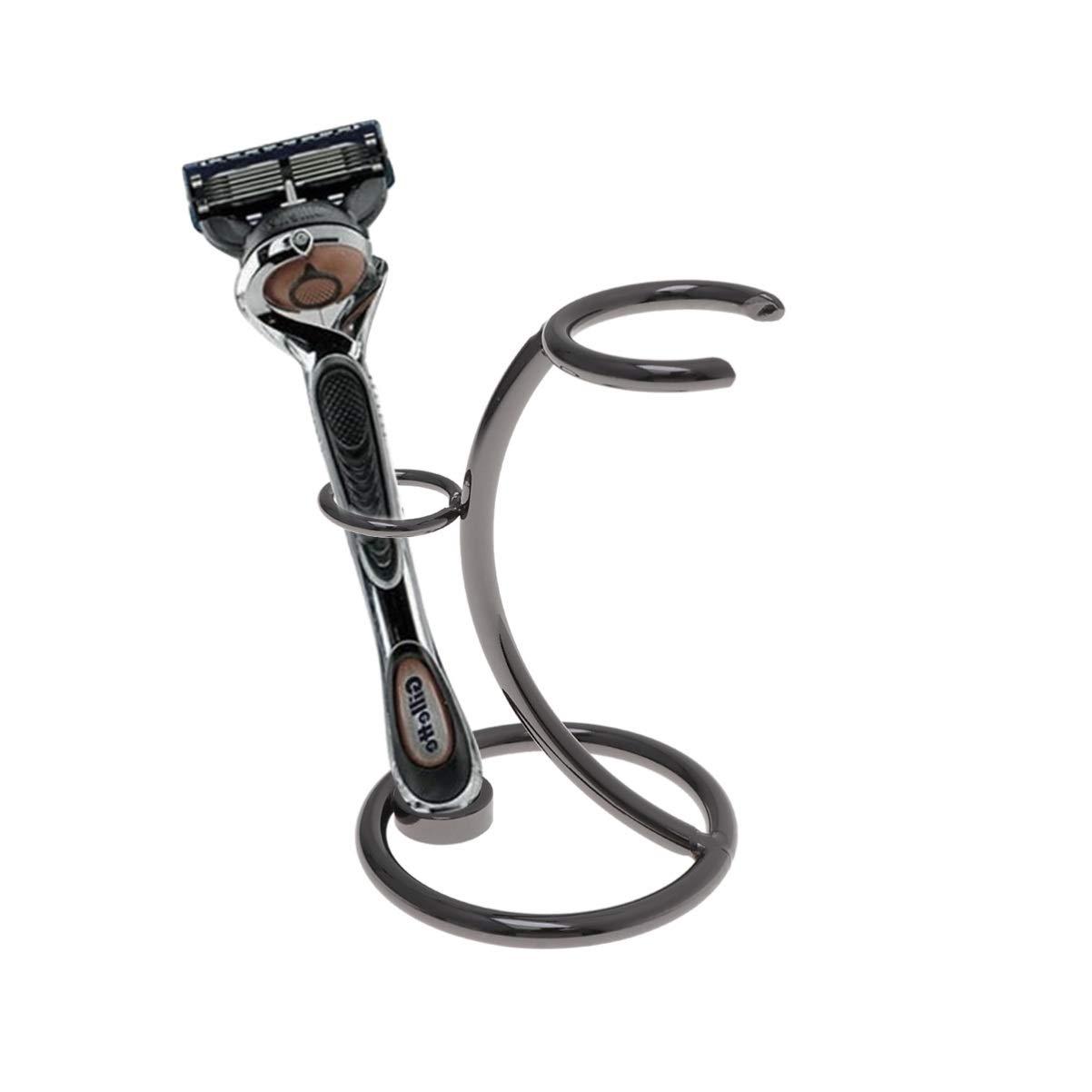 SUPVOX Shaving Razor and Brush Stand Metal Safety Electric Razor Storage Holder Shaver Brush Organizer Rack Gift for Men (Taupe)