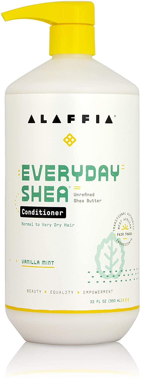 ALAFFIA EVERYDAY SHEA CONDITIONER - Normal to Very Dry Hair, Moisturizing Support to Balance pH for Protected, Luxurious Locks with Shea Leaf and Butter, Fair Trade, VANILLA MINT, 32 Ounces