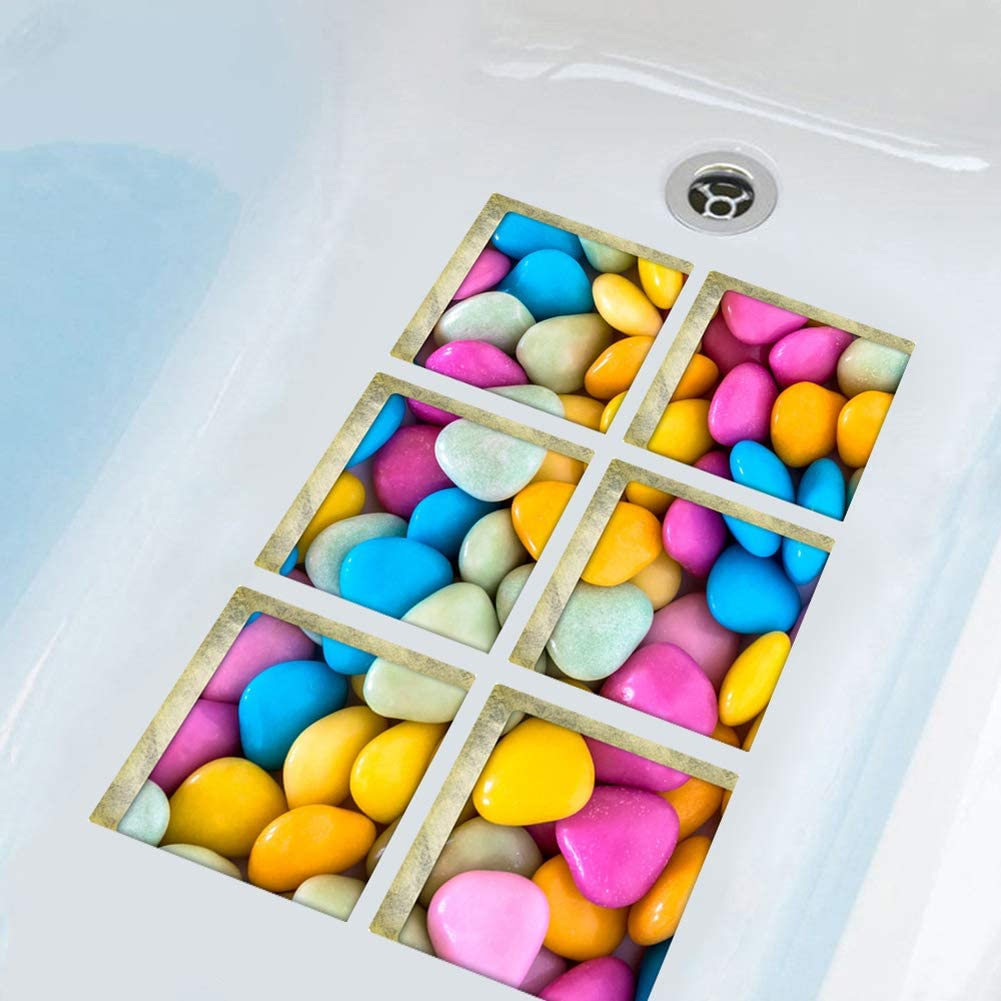 UPSTORE 1Set (6Pcs) Candy Pattern Non Slip Bath Tub Tattoos Showers Adhesive Paw Print Tub Stickers Tub Decals Tub Appliques Safe Treads Mat for Showers & Other Slippery Spots