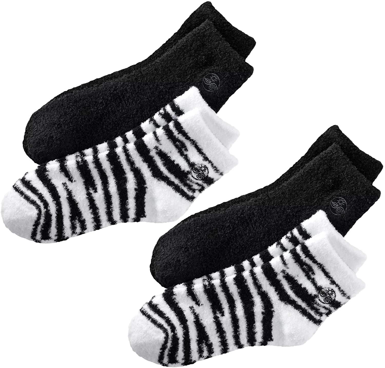 Aloe Socks, 4 Pair Per Package (Black and Zebra)