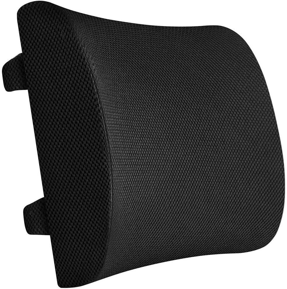 PrimeTrendz TM Memory Foam Lumbar Support Back Cushion Pillow   Memory Foam   Orthopedic Lower Back Support for Office Chair and Car   Orthopedic Design for Lower Back Pain Relief   Black